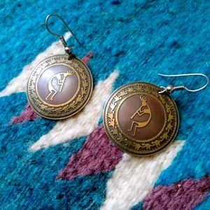 Vintage Copper Kokopelli Disc Earrings